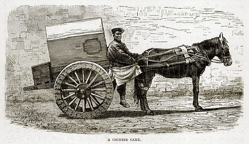 A Chinese Cart. Illustration from The Countries of the World by Robert Brown (Cassell, c 1890).