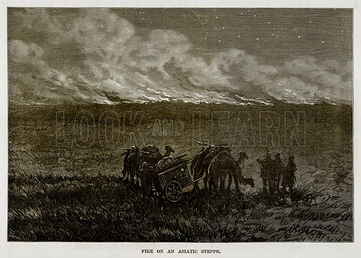 Fire on an Asiatic Steppe. Illustration from The Countries of the World by Robert Brown (Cassell, c 1890).