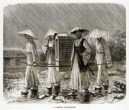 A Corean Palanquin. Illustration from The Countries of the World by Robert Brown (Cassell, c 1890).
