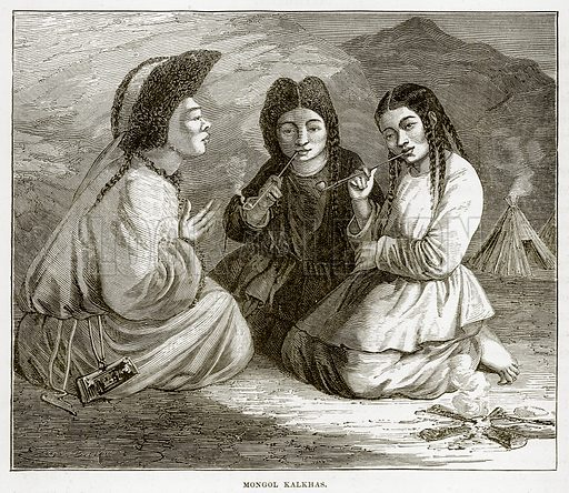 Mongol Kalkhas. Illustration from The Countries of the World by Robert Brown (Cassell, c 1890).