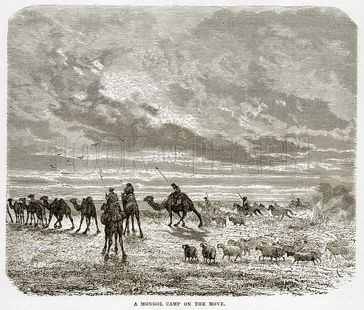 A Mongol Camp on the Move. Illustration from The Countries of the World by Robert Brown (Cassell, c 1890).