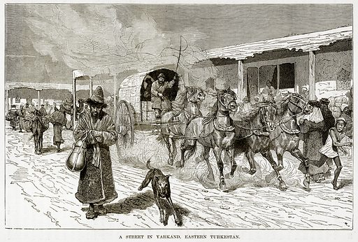 A Street in Yarkand, Eastern Turkestan. Illustration from The Countries of the World by Robert Brown (Cassell, c 1890).