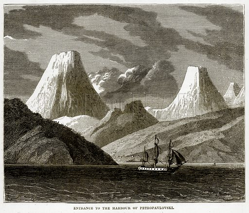 Entrance to the Harbour of Petropavlovski. Illustration from The Countries of the World by Robert Brown (Cassell, c 1890).