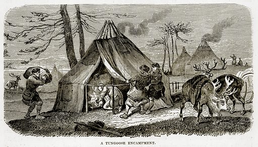 A Tungoose Encampment. Illustration from The Countries of the World by Robert Brown (Cassell, c 1890).