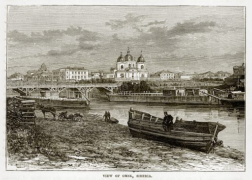 View of Omsk, Siberia. Illustration from The Countries of the World by Robert Brown (Cassell, c 1890).