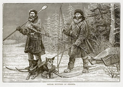 Ostiak Hunters of Siberia. Illustration from The Countries of the World by Robert Brown (Cassell, c 1890).