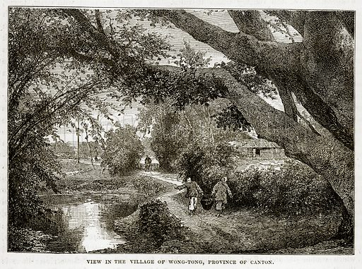 View in the Village of Wong-Tong, Province of Canton. Illustration from The Countries of the World by Robert Brown (Cassell, c 1890).