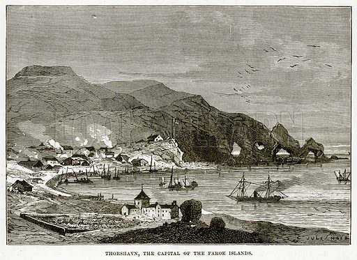 Thorshavn, the Capital of the Faroe Islands. Illustration from The Countries of the World by Robert Brown (Cassell, c 1890).