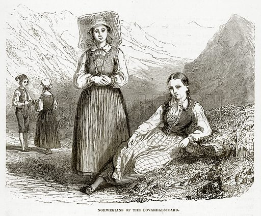 Norwegians of the Lovardalsskard. Illustration from The Countries of the World by Robert Brown (Cassell, c 1890).