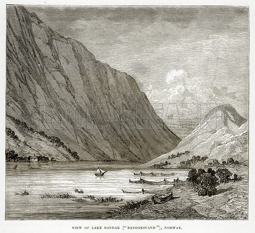 """View of Lake Bandak (""""Bandaksvand""""), Norway. Illustration from The Countries of the World by Robert Brown (Cassell, c 1890)."""