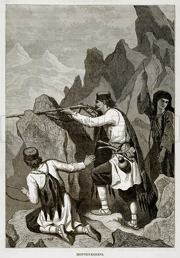 Montenegrins. Illustration from The Countries of the World by Robert Brown (Cassell, c 1890).