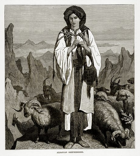Albanian Shepherdess. Illustration from The Countries of the World by Robert Brown (Cassell, c 1890).