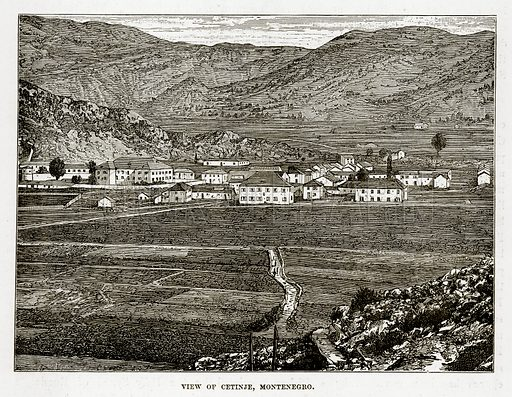 View of Cetinje, Montenegro. Illustration from The Countries of the World by Robert Brown (Cassell, c 1890).
