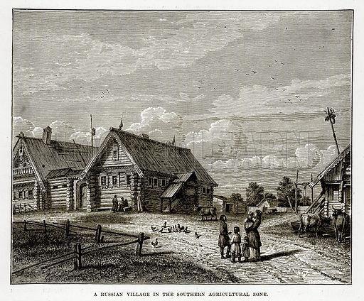 A Russian Village in the Southern Agricultural Zone. Illustration from The Countries of the World by Robert Brown (Cassell, c 1890).