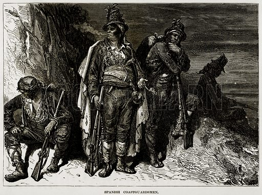 Spanish Coastguardsmen. Illustration from The Countries of the World by Robert Brown (Cassell, c 1890).