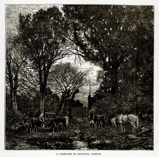 A Farmyard in Brittany, France. Illustration from The Countries of the World by Robert Brown (Cassell, c 1890).