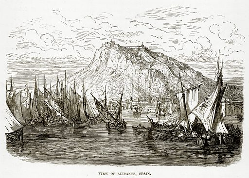 View of Alicante, Spain. Illustration from The Countries of the World by Robert Brown (Cassell, c 1890).