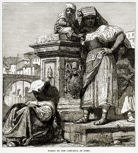 Women of the Campagna at Rome. Illustration from The Countries of the World by Robert Brown (Cassell, c 1890).