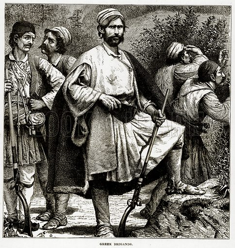 Greek Brigands. Illustration from The Countries of the World by Robert Brown (Cassell, c 1890).
