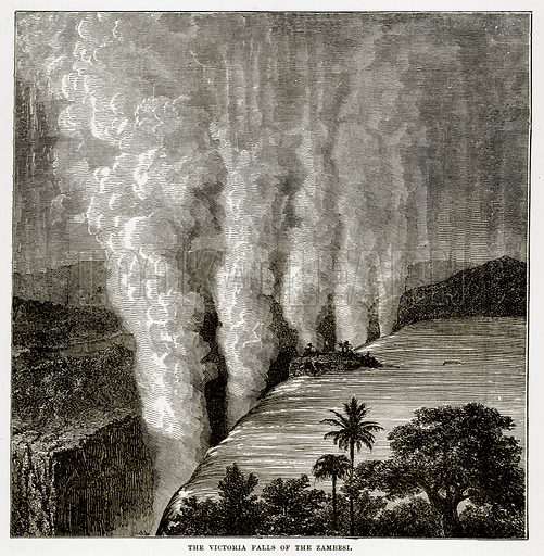 The Victoria Falls of the Zambesi. Illustration from The Countries of the World by Robert Brown (Cassell, c 1890).