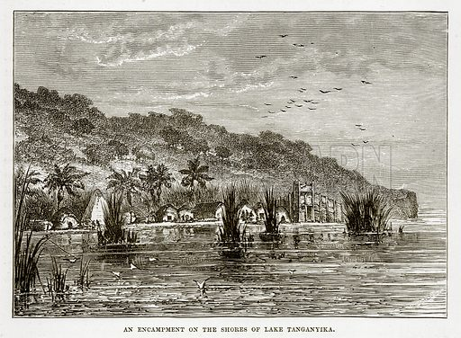 An Encampment on the Shores of Lake Tanganyika. Illustration from The Countries of the World by Robert Brown (Cassell, c 1890).