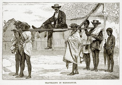 Travelling in Madagascar. Illustration from The Countries of the World by Robert Brown (Cassell, c 1890).