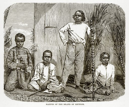 Natives of the Island of Reunion. Illustration from The Countries of the World by Robert Brown (Cassell, c 1890).