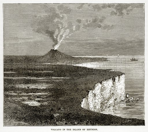 Volcano in the Island of Reunion. Illustration from The Countries of the World by Robert Brown (Cassell, c 1890).