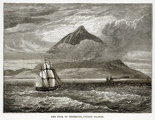 The Peak of Teneriffe, Canary Islands. Illustration from The Countries of the World by Robert Brown (Cassell, c 1890).