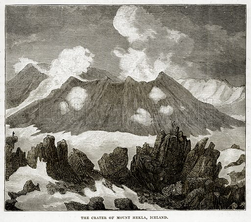 The Crater of Mount Hekla, Iceland. Illustration from The Countries of the World by Robert Brown (Cassell, c 1890).
