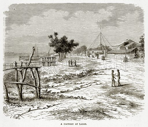A Factory at Lagos. Illustration from The Countries of the World by Robert Brown (Cassell, c 1890).