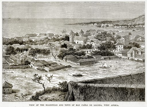 View of the Roadstead and Town of San Paolo de Loanda, West Africa. Illustration from The Countries of the World by Robert Brown (Cassell, c 1890).