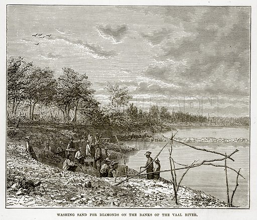 Washing Sand for Diamonds on the Banks of the Vaal River. Illustration from The Countries of the World by Robert Brown (Cassell, c 1890).