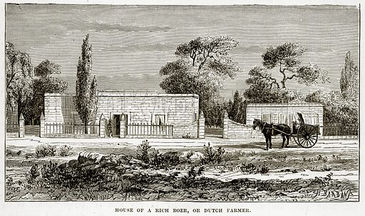 House of a Rich Boer, or Dutch Farmer. Illustration from The Countries of the World by Robert Brown (Cassell, c 1890).