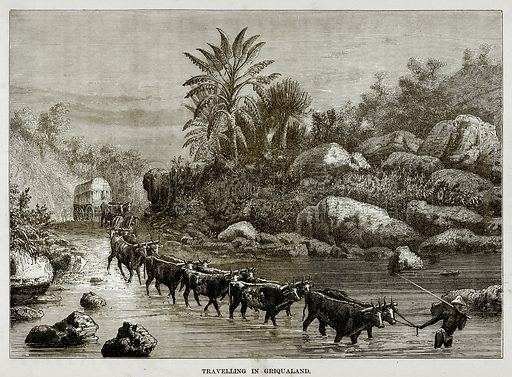 Travelling in Griqualand. Illustration from The Countries of the World by Robert Brown (Cassell, c 1890).