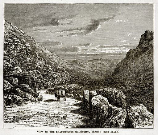 View in the Drakensberg Mountains, Orange Free State. Illustration from The Countries of the World by Robert Brown (Cassell, c 1890).