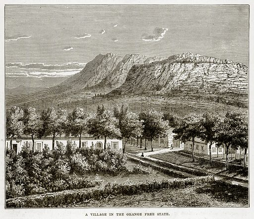 A Village in the Orange Free State. Illustration from The Countries of the World by Robert Brown (Cassell, c 1890).