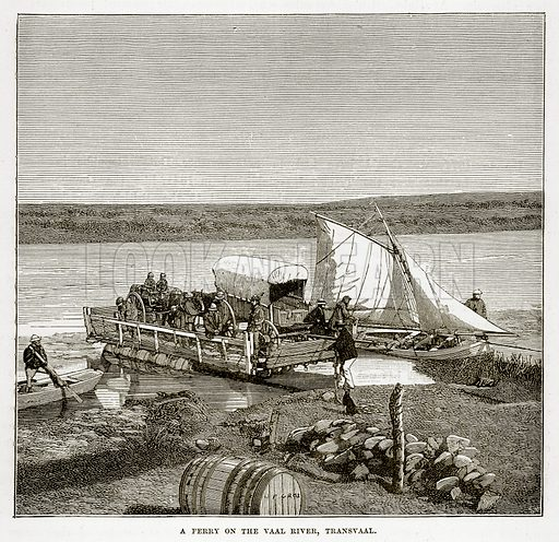 A Ferry on the Vaal River, Transvaal. Illustration from The Countries of the World by Robert Brown (Cassell, c 1890).