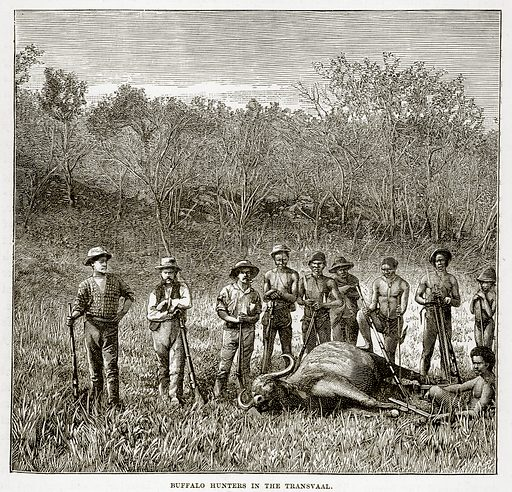 Buffalo Hunters in the Transvaal. Illustration from The Countries of the World by Robert Brown (Cassell, c 1890).