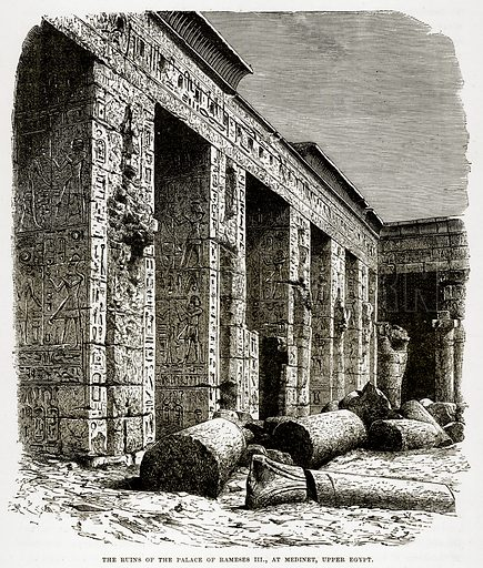 The Ruins of the Palace of Rameses III, at Medinet, Uppper Egypt. Illustration from The Countries of the World by Robert Brown (Cassell, c 1890).