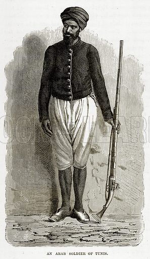 An Arab Soldier of Tunis. Illustration from The Countries of the World by Robert Brown (Cassell, c 1890).