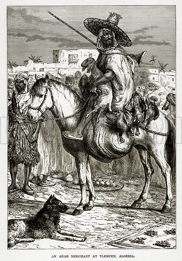 A Arab Merchant at Tlemcen, Algeria. Illustration from The Countries of the World by Robert Brown (Cassell, c 1890).