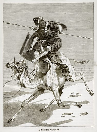 A Moorish Warrior. Illustration from The Countries of the World by Robert Brown (Cassell, c 1890).