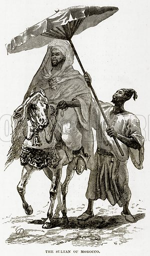 The Sultan of Morocco. Illustration from The Countries of the World by Robert Brown (Cassell, c 1890).