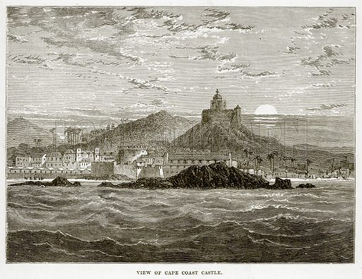 View of Cape Coast Castle. Illustration from The Countries of the World by Robert Brown (Cassell, c 1890).