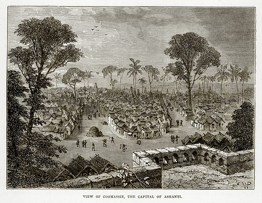 View of Coomassie, the Capital of Ashanti. Illustration from The Countries of the World by Robert Brown (Cassell, c 1890).