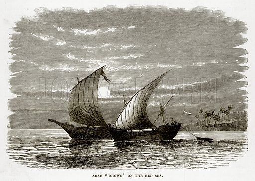 "Arab ""Dhows"" on the Red Sea. Illustration from The Countries of the World by Robert Brown (Cassell, c 1890)."