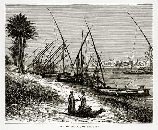 View of Boulak, on the Nile. Illustration from The Countries of the World by Robert Brown (Cassell, c 1890).