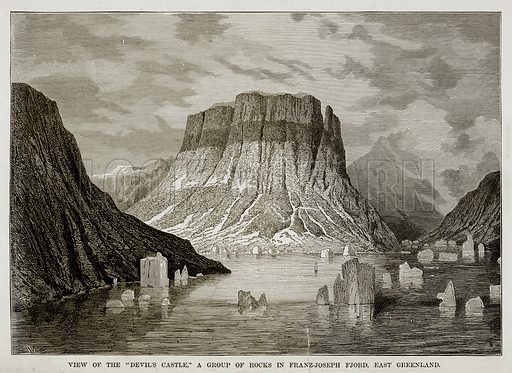 "View of the ""Devils Castle,"" a Group of Rocks in Franz-Joseph Fjord, East Greenland. Illustration from The Countries of the World by Robert Brown (Cassell, c 1890)."