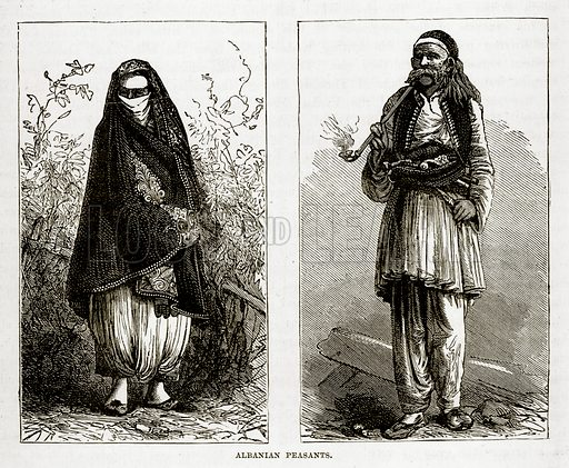 Albaniah Peasants. Illustration from The Countries of the World by Robert Brown (Cassell, c 1890).